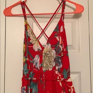 1 4 3 Story by Line Up Dresses - Boutique High-Low Strappy Red dress with flower